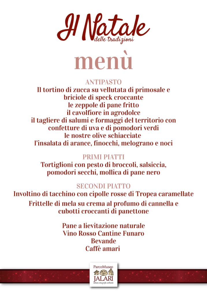 Menu pranzo natalizio Parco Museo Jalari - Barcellona Pozzo di Gotto, ME