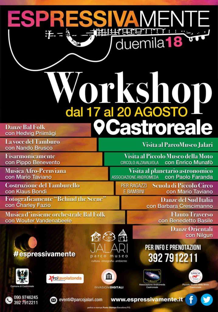 Workshop Espressivamente Festival al Parco Museo Jalari (Messina) dal 17 al 20 agosto 2018