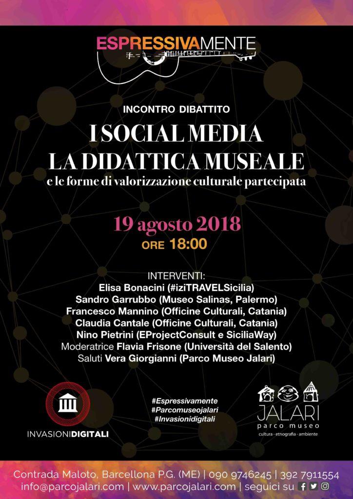 """incontro dibattito """"I social media, la didattica museale e le forme di valorizzazione culturale partecipata""""."""